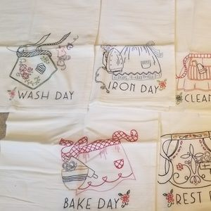 7Day Hand Embroider Kitchen Tea Towels Apron Chore